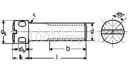 DIN 404 / Винт  пломбировочный с радиальными отверстиями и прямым шлицем