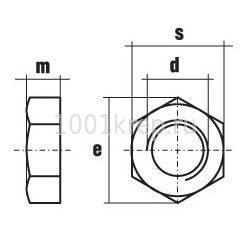 DIN 431 / Гайка низкая с дюймовой резьбой и односторонней фаской