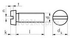 DIN 84/ ГОСТ 1491 Винт DIN 84 (ГОСТ 1491, ISO 1207) с цилиндрической  головкой, прямым шлицем и  полной резьбой